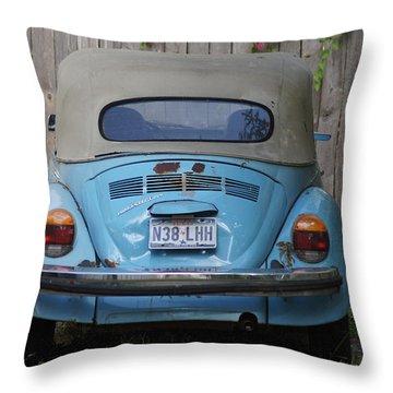 Blue Bug Throw Pillow by Debi Demetrion