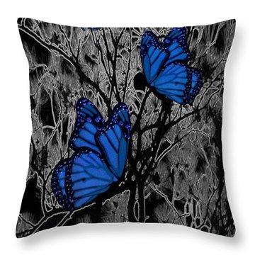 Blue Butterflies Throw Pillow by Barbara St Jean