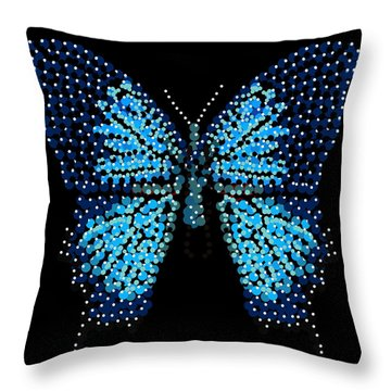 Blue Butterfly Black Background Throw Pillow by R  Allen Swezey