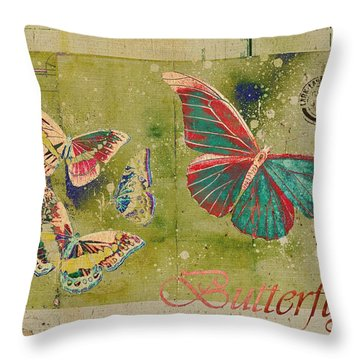 Blue Butterfly Etc - S55ct01 Throw Pillow by Variance Collections