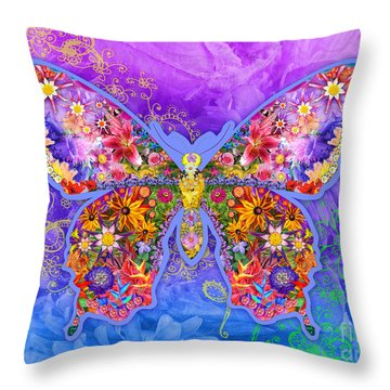 Blue Butterfly Floral Throw Pillow by Alixandra Mullins