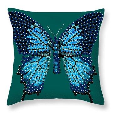 Blue Butterfly Green Background Throw Pillow by R  Allen Swezey