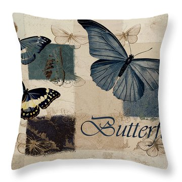 Blue Butterfly - J118118115-01a Throw Pillow by Variance Collections