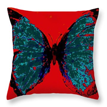 Throw Pillow featuring the digital art Blue Butterfly  by Jasna Gopic