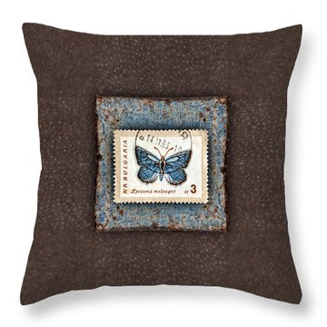 Blue Butterfly On Copper Throw Pillow