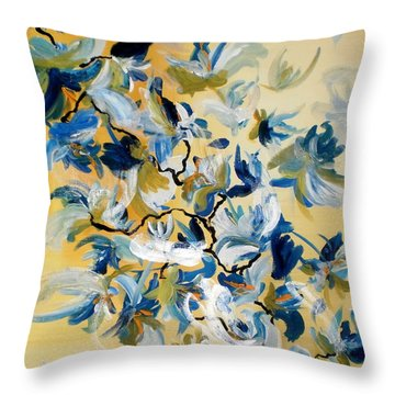 Blue Butterfly Painting Throw Pillow by France Laliberte
