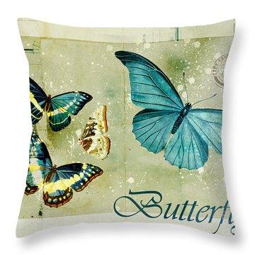 Blue Butterfly - S55c01 Throw Pillow