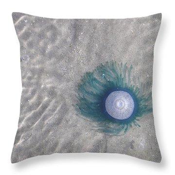 Blue Button Jellyfish Throw Pillow