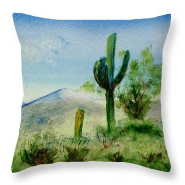 Blue Cactus Throw Pillow by Jamie Frier