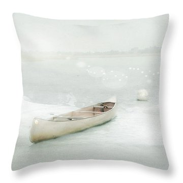 Blue Canoe Throw Pillow