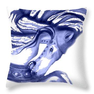 Blue Carrousel Horse Throw Pillow