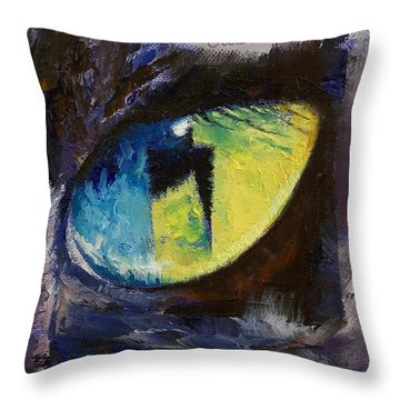 Blue Cat Eye Throw Pillow by Michael Creese