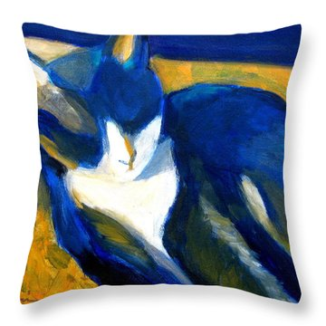 Blue Cat Throw Pillow