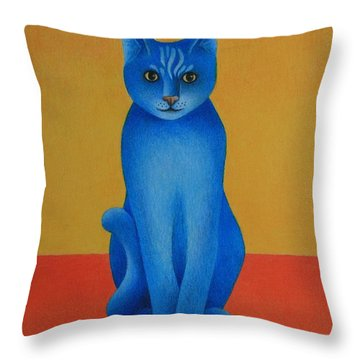 Throw Pillow featuring the painting Blue Cat by Pamela Clements