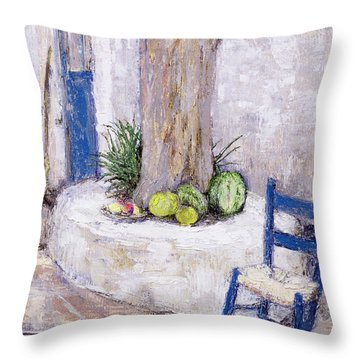 Blue Chair By The Tree Throw Pillow