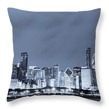 Blue Chicago Skyline Throw Pillow by Sebastian Musial