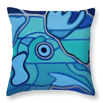 Blue Chicken Abstract Throw Pillow