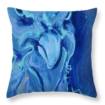 Blue Chicken Throw Pillow