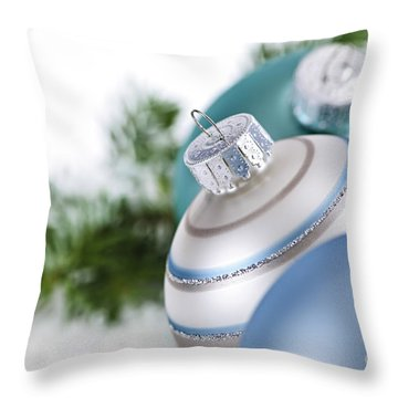 Blue Christmas Ornaments Throw Pillow by Elena Elisseeva