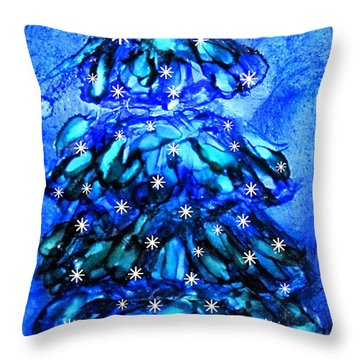 Blue Christmas Tree Alcohol Inks  Throw Pillow