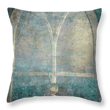 Blue Church Window And Hydrangea Throw Pillow by Suzanne Powers
