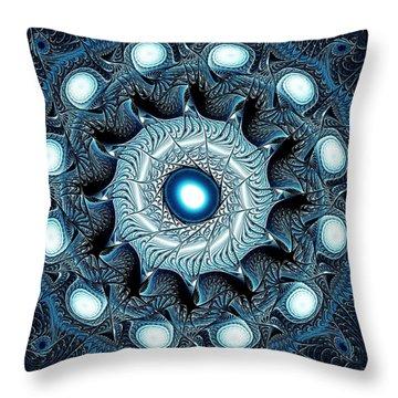 Blue Circle Throw Pillow by Anastasiya Malakhova