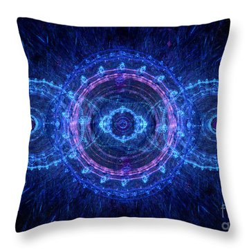 Blue Circle Fractal Throw Pillow