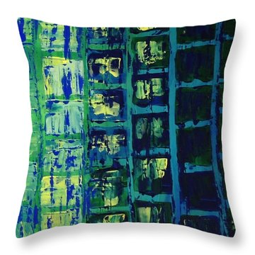 Throw Pillow featuring the painting Blue City 2 by Linda Bailey