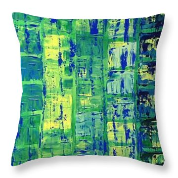 Throw Pillow featuring the painting Blue City by Linda Bailey