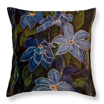 Blue Clematis At Twilight Throw Pillow