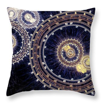 Blue Clockwork Throw Pillow