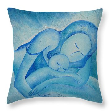 Blue Co Sleeping Throw Pillow by Gioia Albano