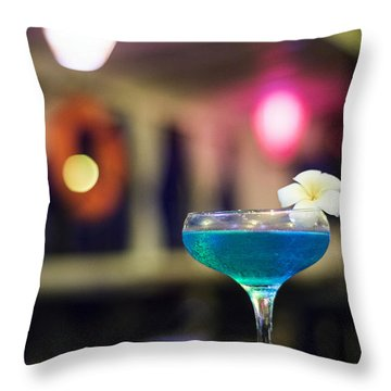 Blue Cocktail Drink In Dark Bar Interior Throw Pillow