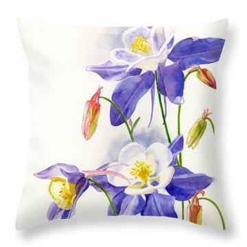 Blue Columbine Blossoms Throw Pillow by Sharon Freeman