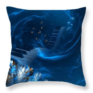 Throw Pillow featuring the digital art Blue Coral Melody - Fantasy Art By Giada Rossi by Giada Rossi