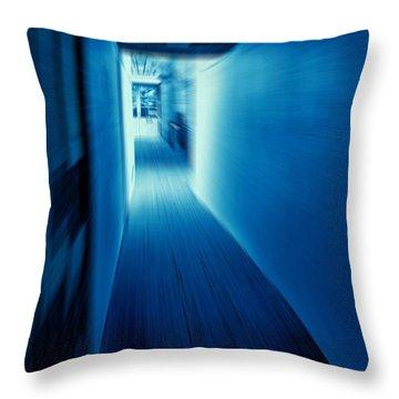 Blue Corridor Throw Pillow