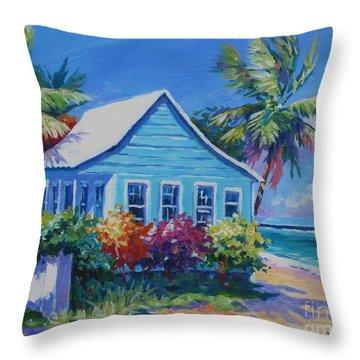 Blue Cottage On The Beach Throw Pillow by John Clark