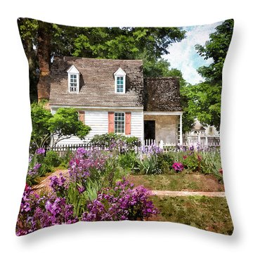 Blue Cottage Throw Pillow by Shari Nees