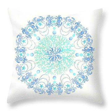Blue Crab Mandala 5 Throw Pillow