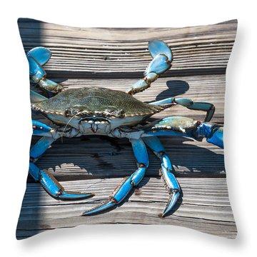 Blue Crab Pincher Throw Pillow