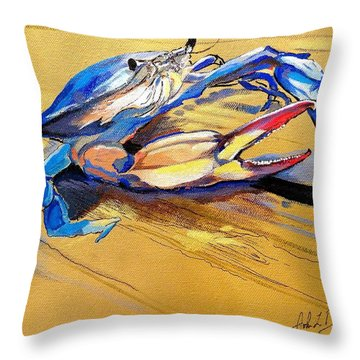 Blue Crabbie  Throw Pillow