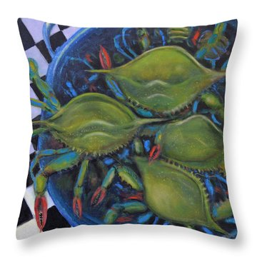Blue Crabs In Pot Throw Pillow by Dwain Ray