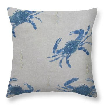 Blue Crabs On Sand Throw Pillow