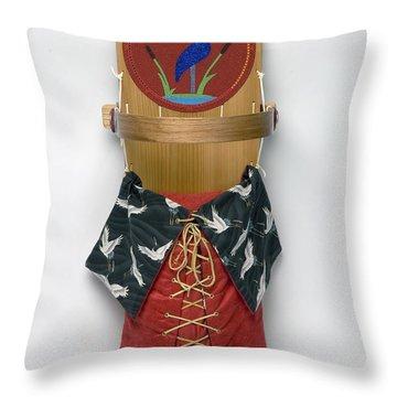 Blue Crane Cradleboard Throw Pillow