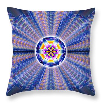 Throw Pillow featuring the drawing Blue Crystal Consciousness by Derek Gedney