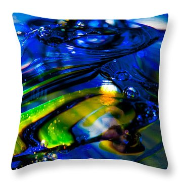 Blue Crystal Throw Pillow by David Patterson