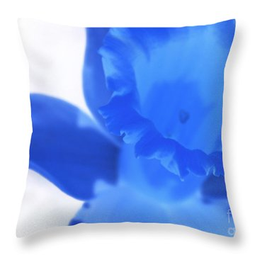 Throw Pillow featuring the photograph Blue Daffodil by Andy Prendy