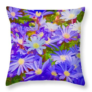 Throw Pillow featuring the photograph Blue Daisy Spring by Ken Stanback