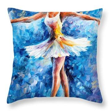 Blue Dance Throw Pillow by Leonid Afremov