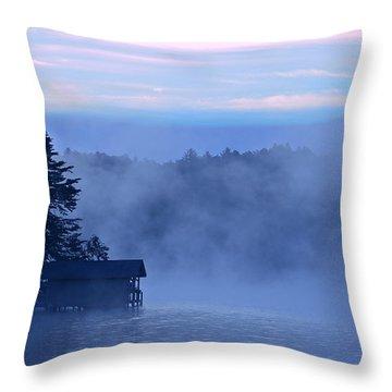 Blue Dawn Mist Throw Pillow by Susan Leggett
